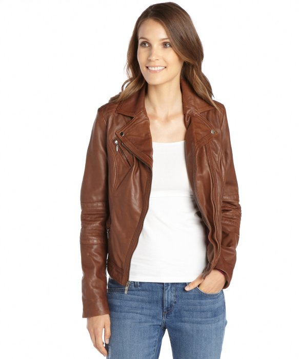 Lyst Cole Haan Saddle Leather Asymmetrical Zip Front Moto Jacket