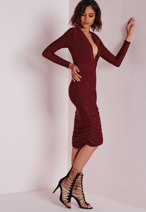 Lyst - Missguided Slinky Plunge Long Sleeve Midi Dress Burgundy in ... ec59cbc14