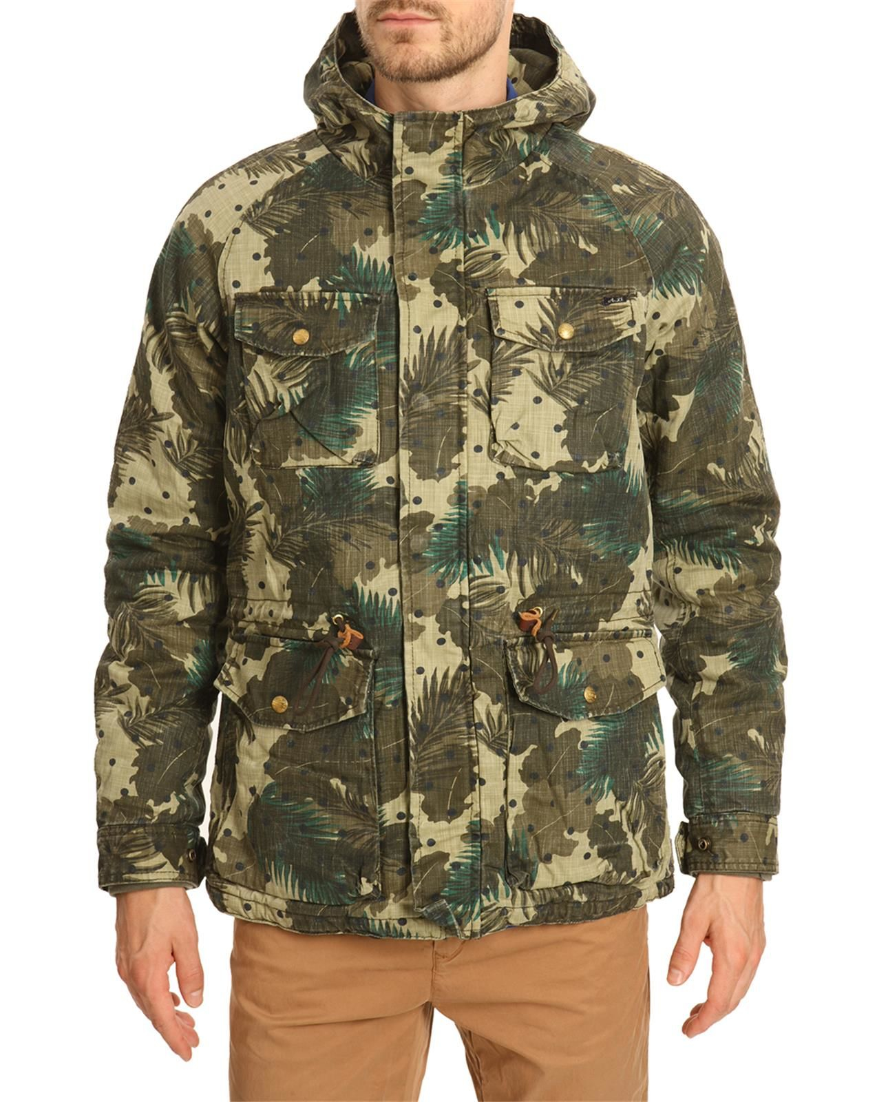 scotch soda blue fabric multi pocket parka in green for. Black Bedroom Furniture Sets. Home Design Ideas