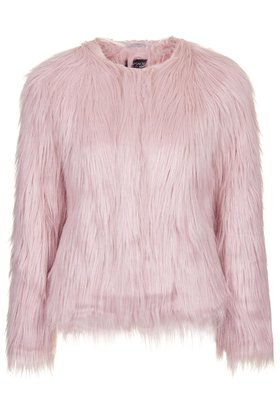 Topshop Fluffy Faux Fur Jacket in Pink | Lyst