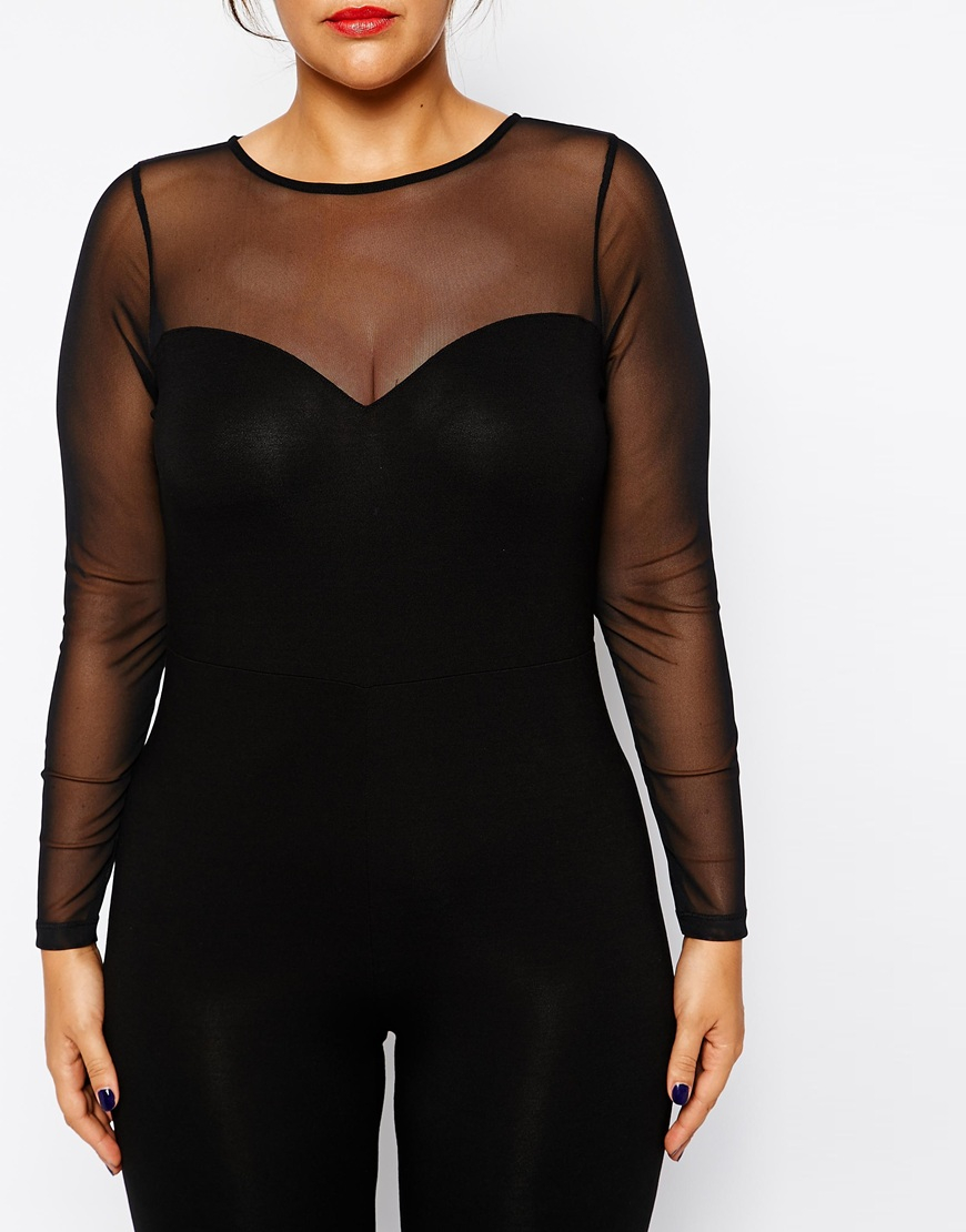 2c543a6552fd Lyst - ASOS Exclusive Bodyfit Jumpsuit With Mesh Sweetheart in Black