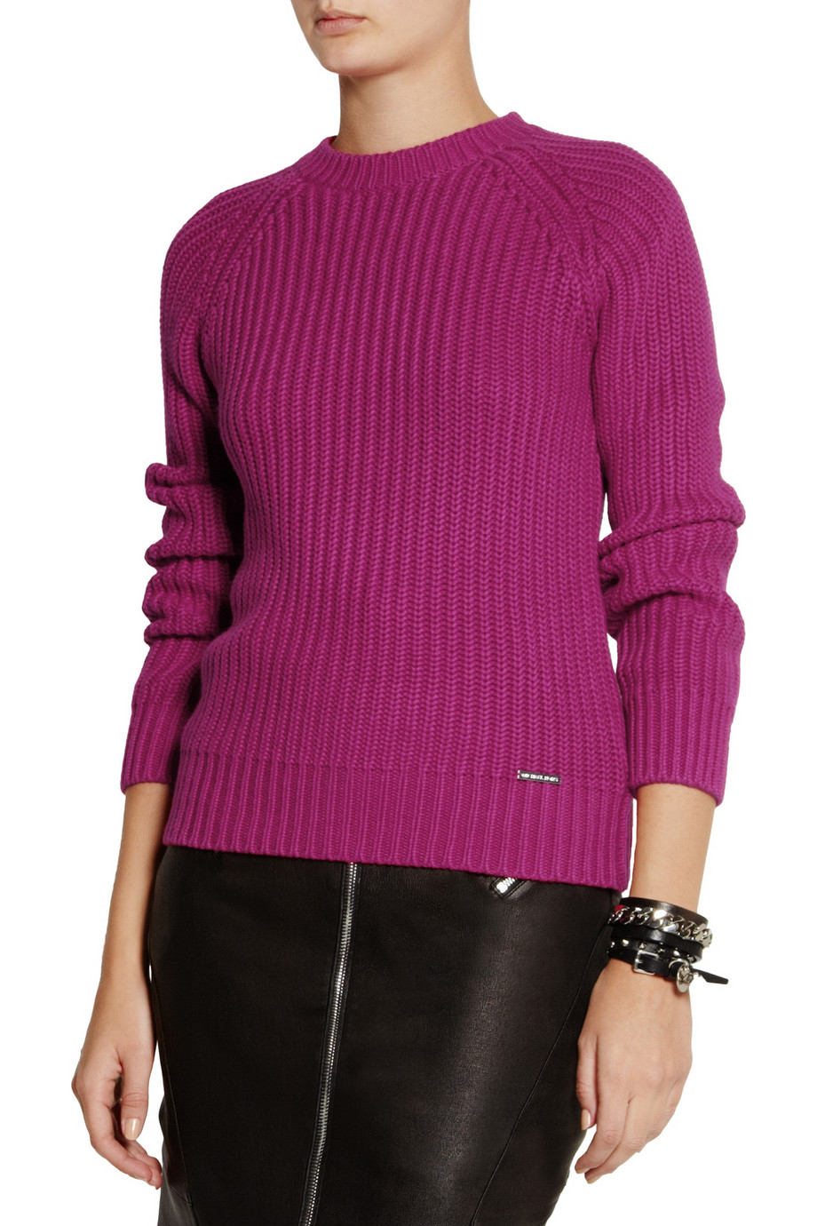 Michael michael kors Chunky-knit Cotton-blend Sweater in Purple | Lyst