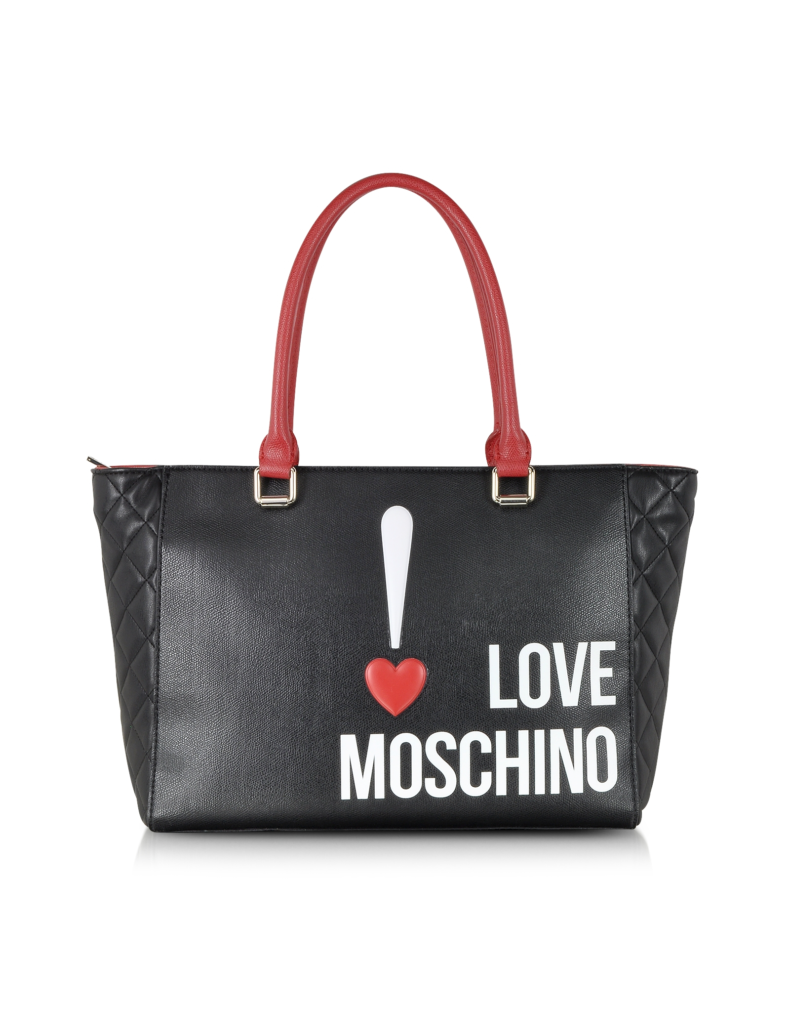 moschino love color block eco leather shopper tote in black lyst. Black Bedroom Furniture Sets. Home Design Ideas
