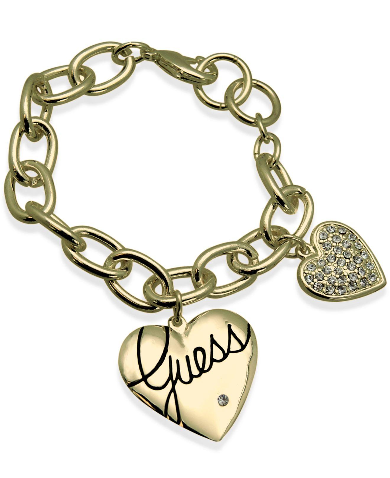 Guess Gold tone Pavé Double Heart Charm Bracelet in Metallic