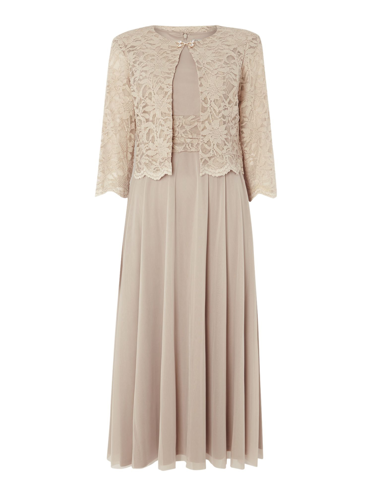Eliza J Mesh And Lace Dress And Jacket In Beige Champagne