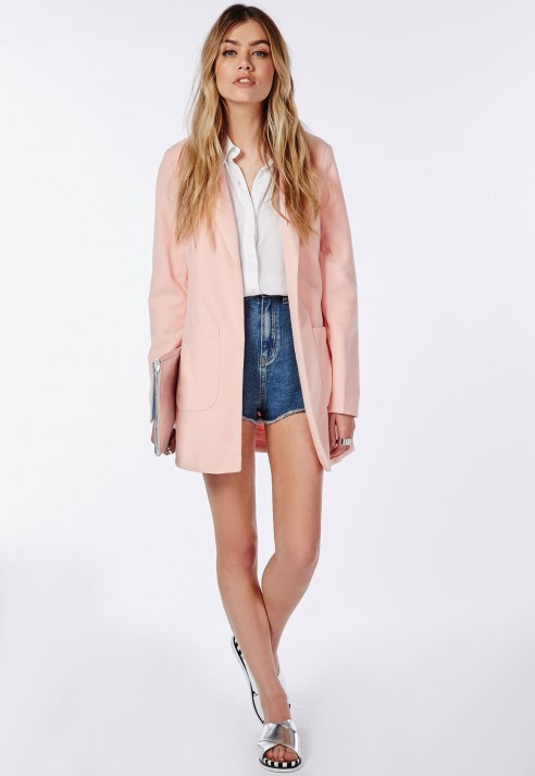 Missguided Vanessa Pink Tailored Coat in Pink | Lyst