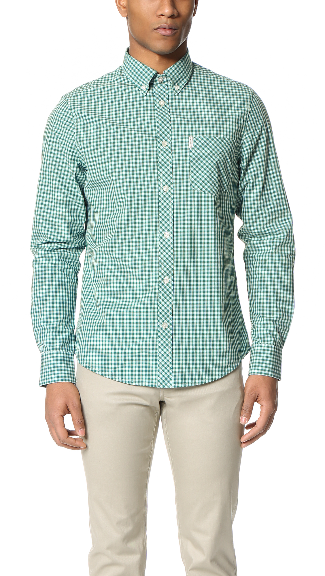 ben sherman gingham button down shirt in green for men lyst