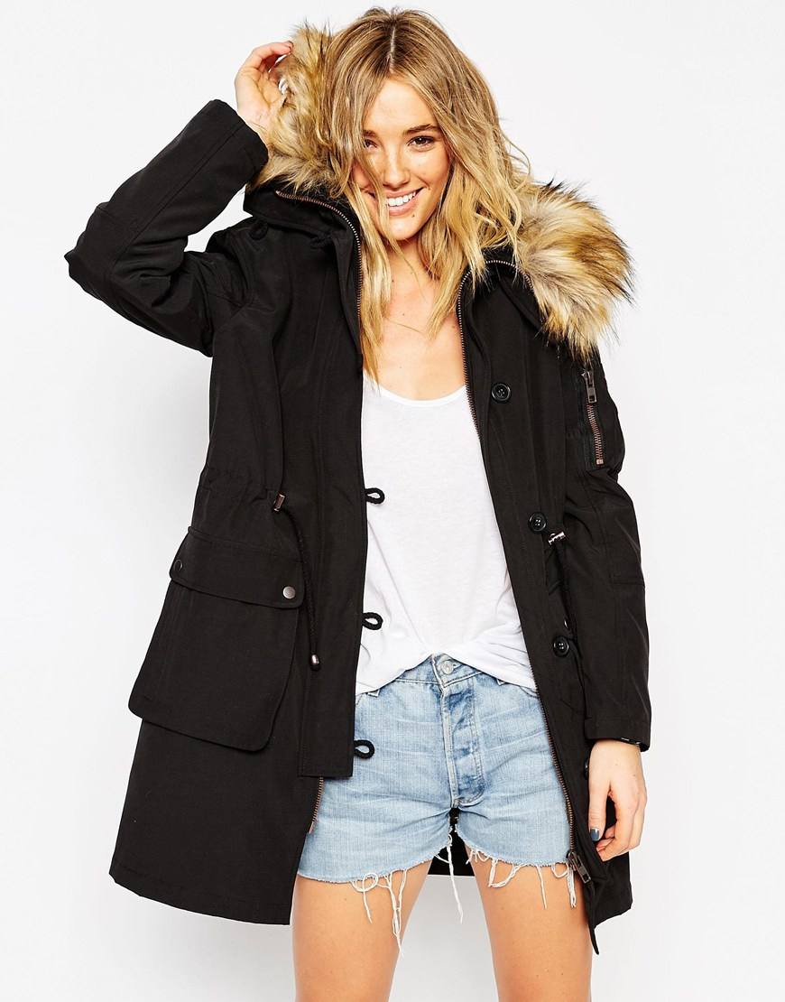 7c67bfb92d4639 ASOS Parka With Detachable Faux Fur Liner in Black - Lyst