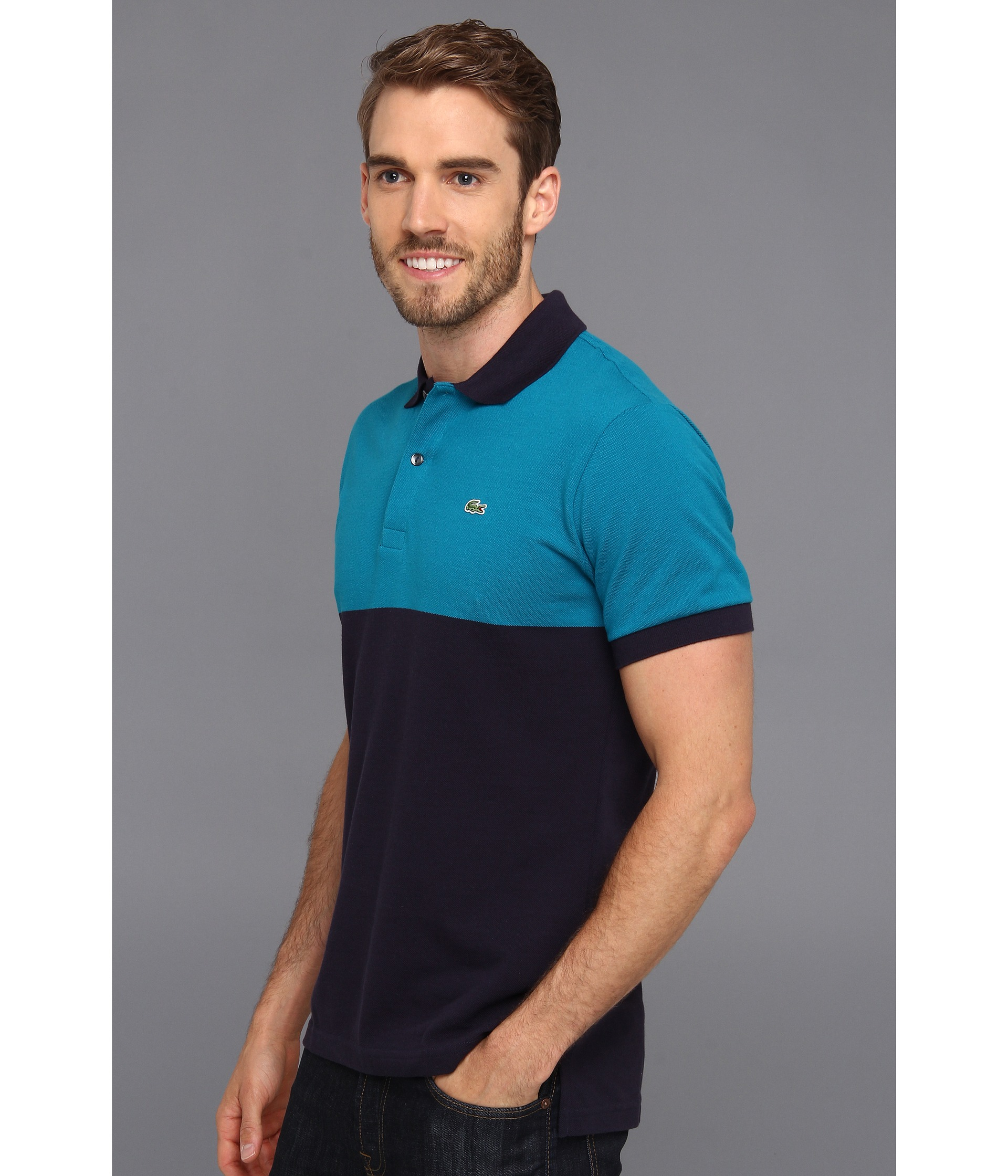 Lyst lacoste short sleeve color block pique polo shirt for Polo color block shirt