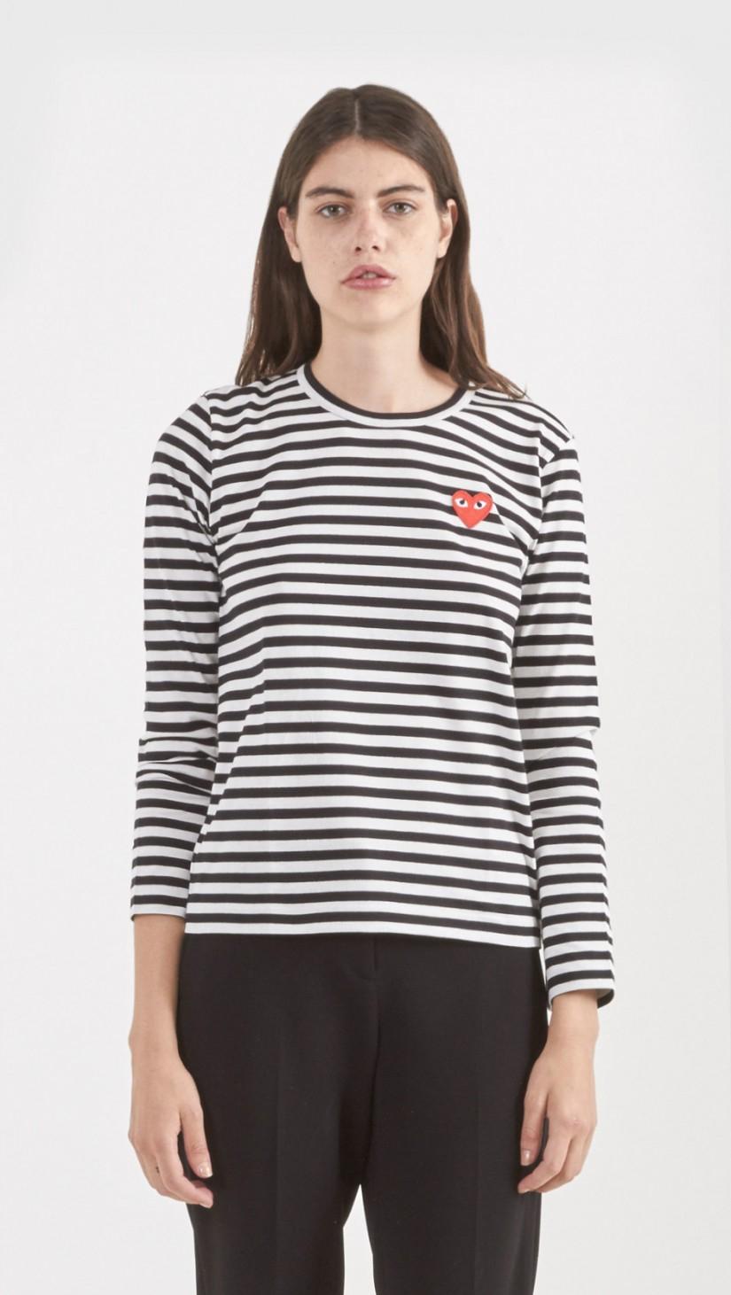 Lyst - Play Comme des Garçons Striped T-shirt in Black 009dd1818