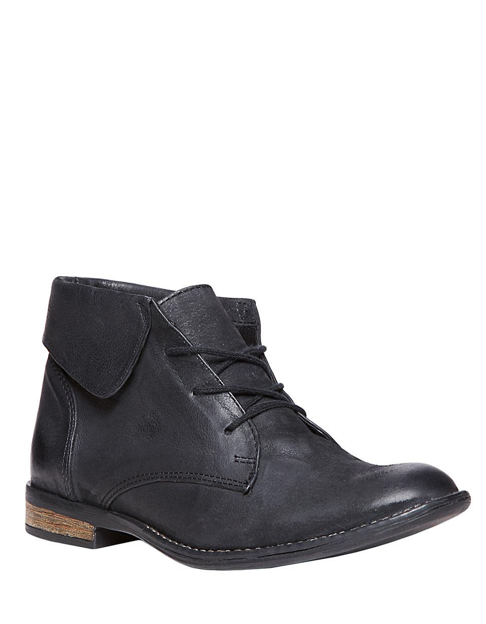 steve madden stringrei leather ankle boots in black lyst