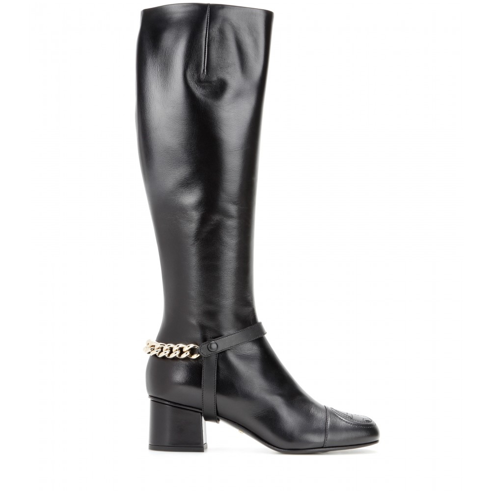 4162b695d1b3 Lyst - Gucci Soho Leather Knee-High Boots in Black