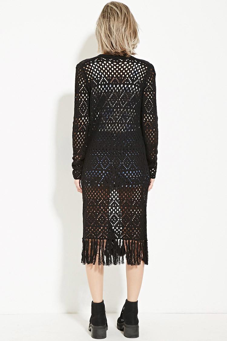 Forever 21 Fringed Crochet Cardigan in Black | Lyst