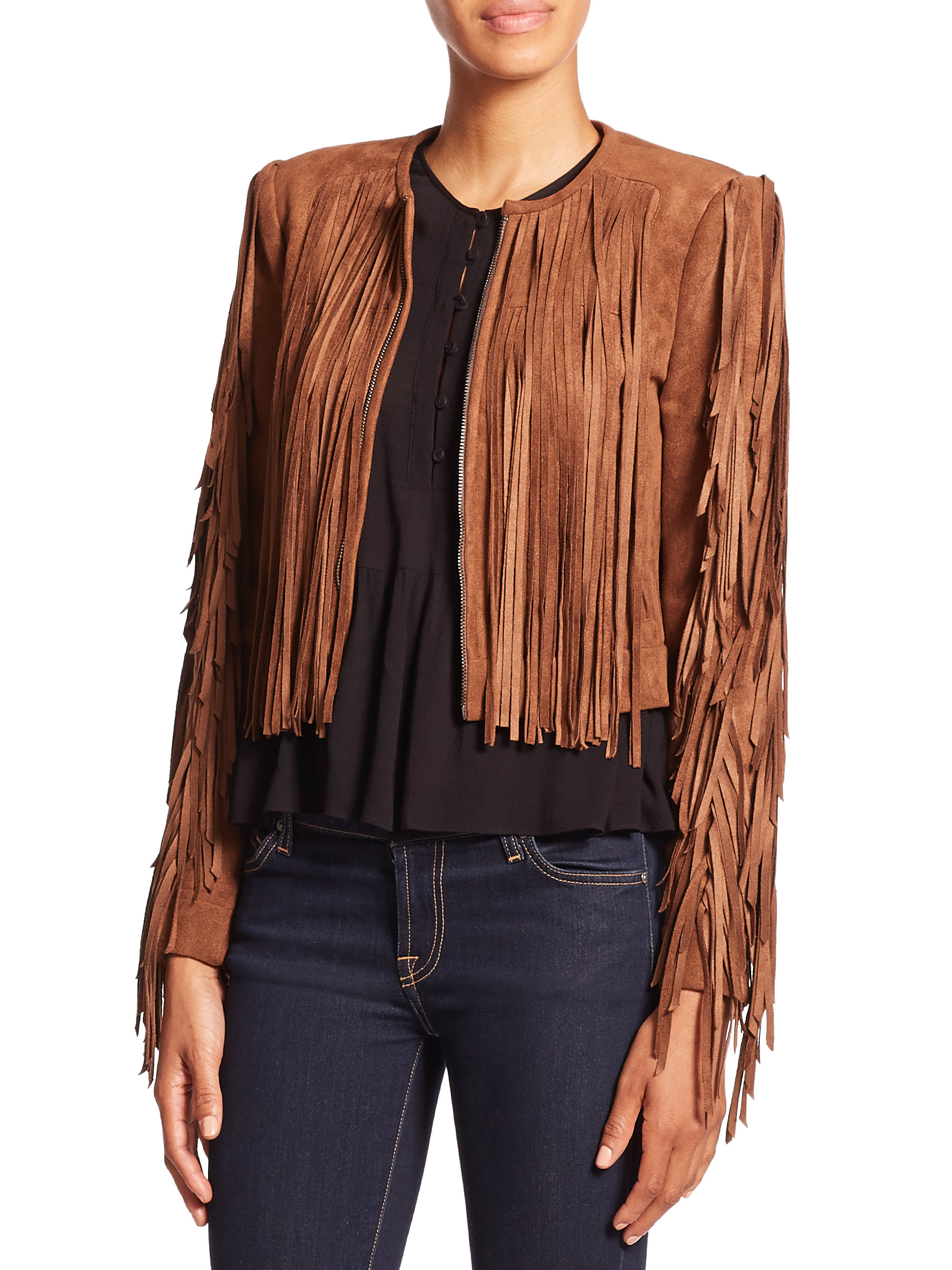 Product Features This Faux Suede cape features lace-up front, tassels hem, sleeveless.
