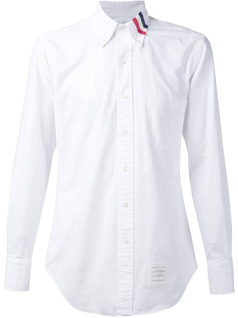 Thom browne striped collar shirt in white for men lyst for Thom browne white shirt