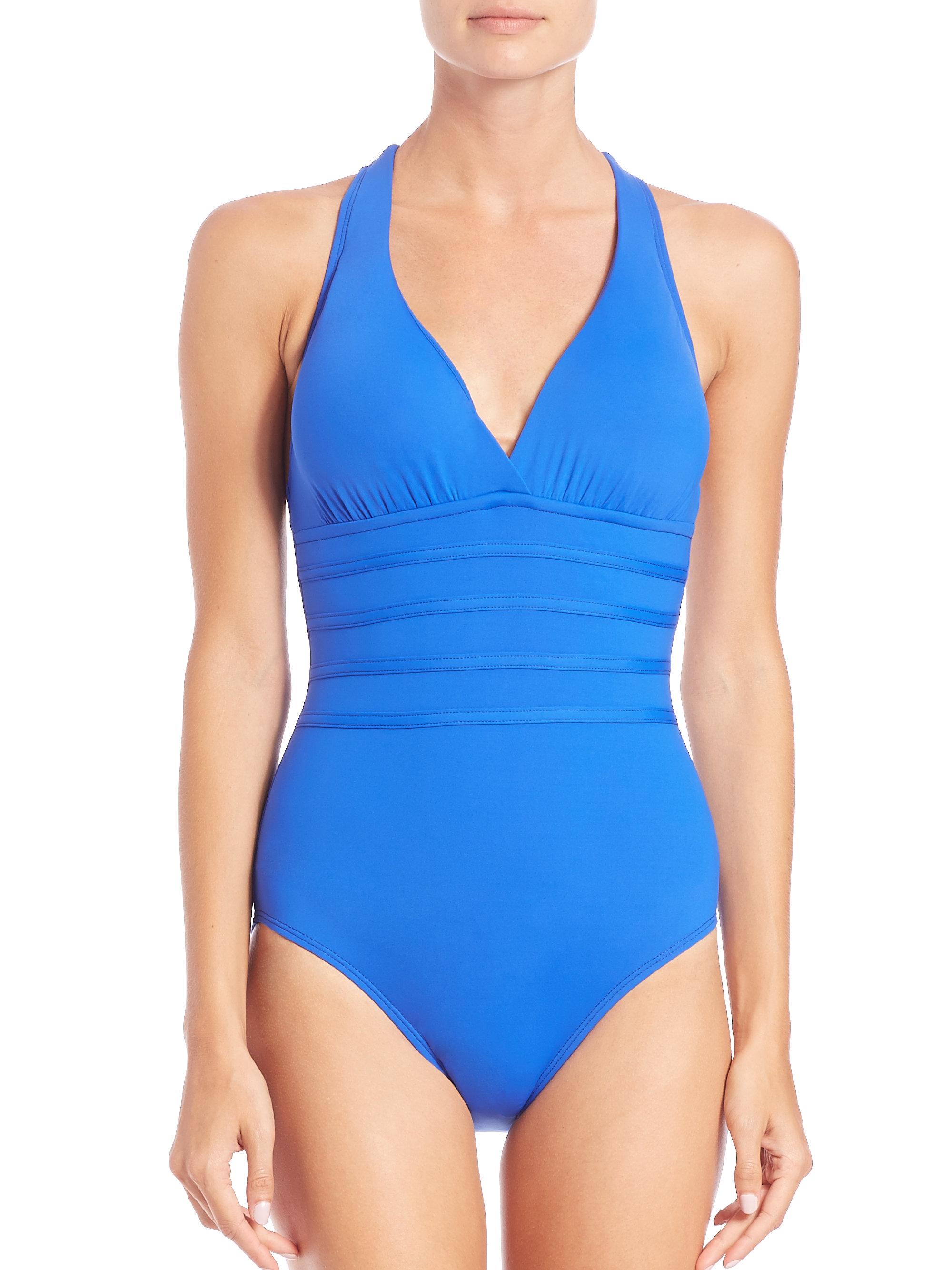 Lyst La Blanca One Piece Core Crossback Swimsuit In Blue