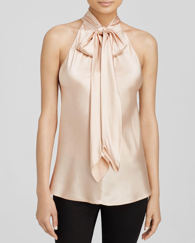 ramy brook neck tie top in pink blush lyst