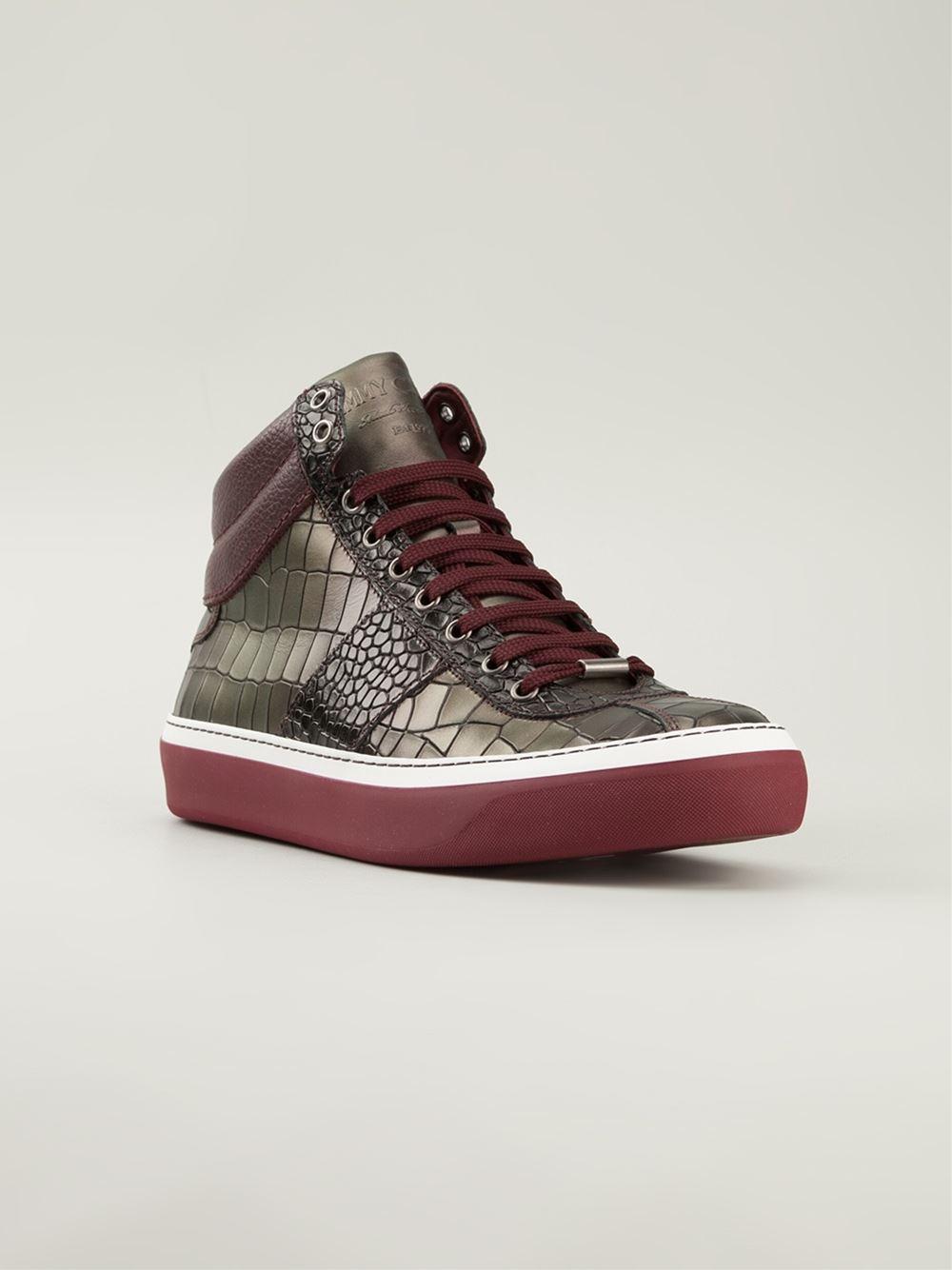 jimmy choo belgravia hitop sneakers in brown for men lyst. Black Bedroom Furniture Sets. Home Design Ideas