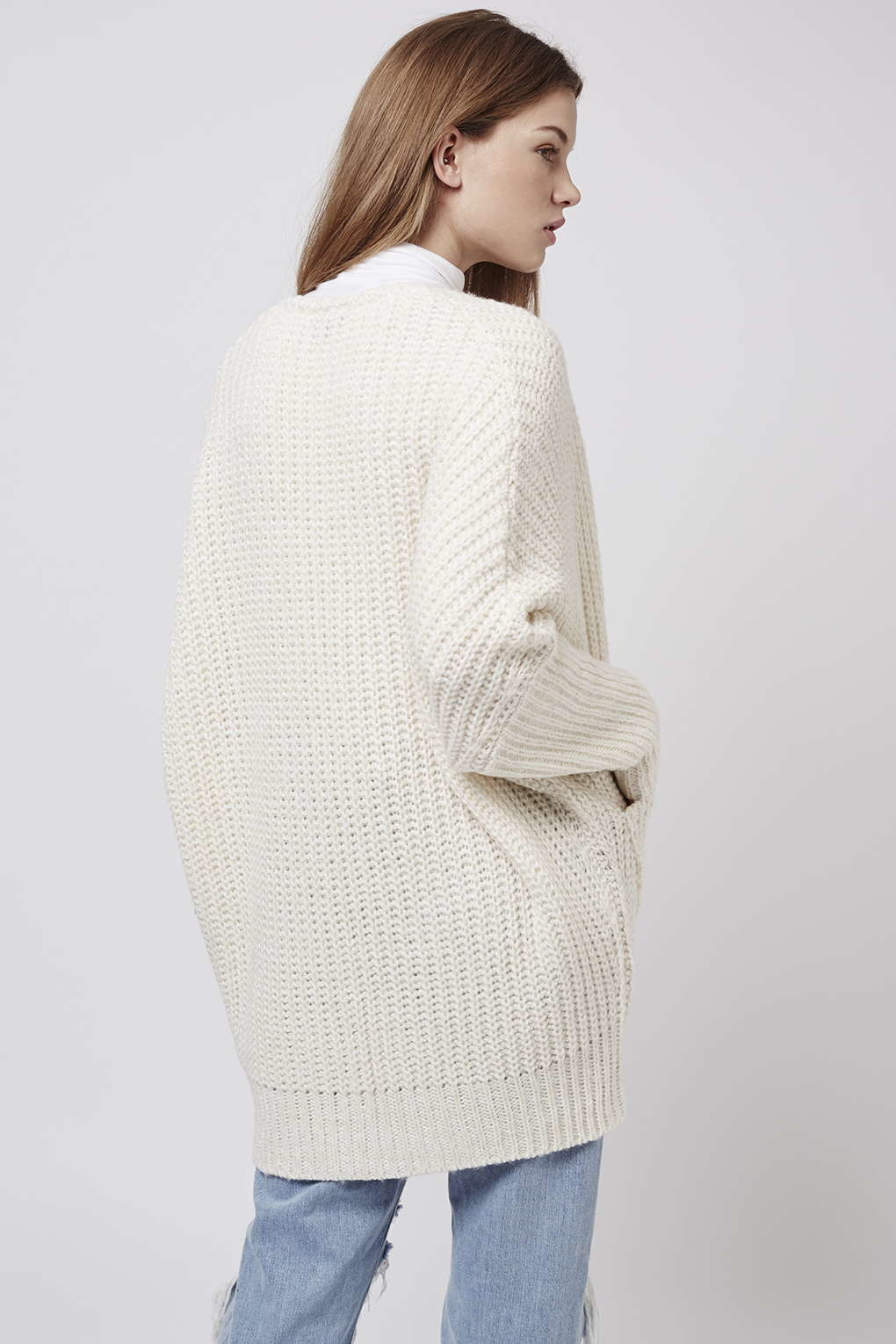 Topshop Cocoon Rib Cardigan in Natural | Lyst