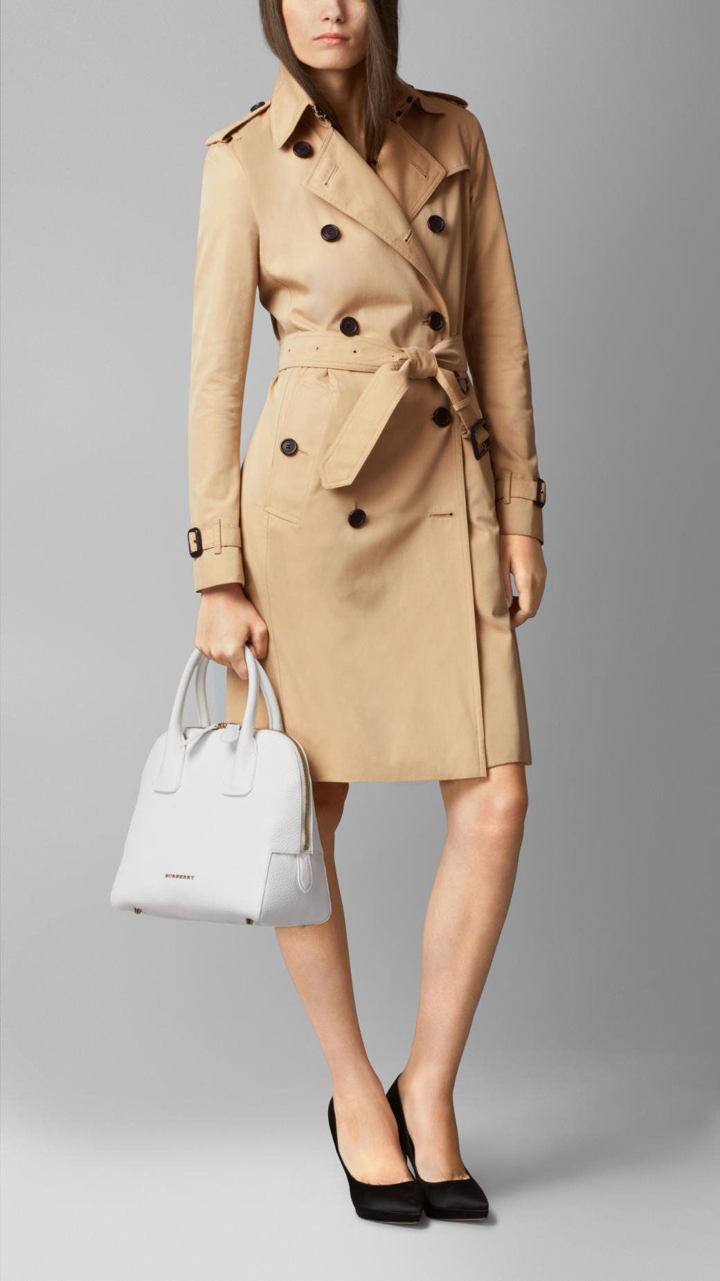 ce41a6b4ba09 Lyst - Burberry Small Grainy Leather Bowling Bag in White