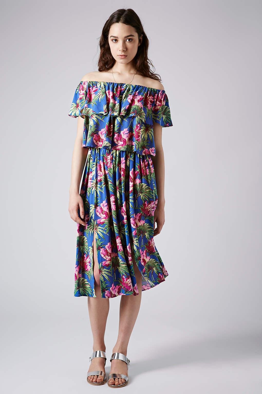 topshop hibiscus spliced midi skirt in blue lyst