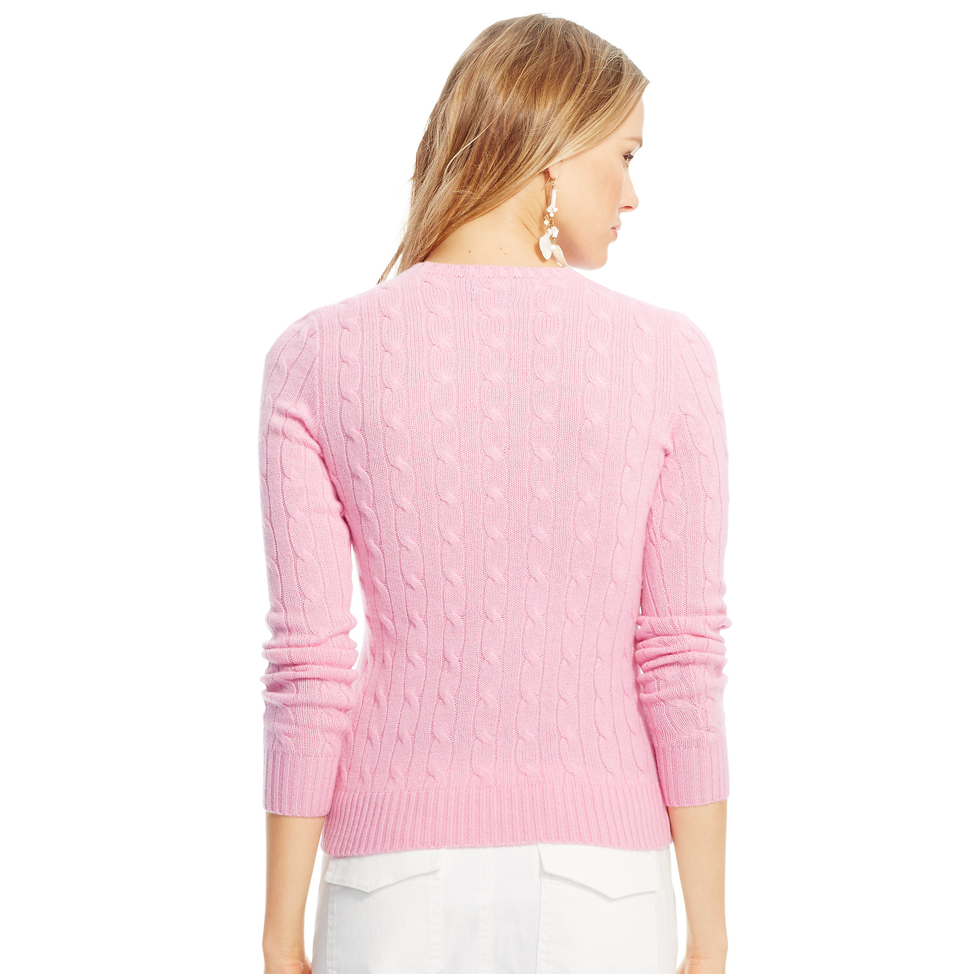 Polo ralph lauren Slim Cable Cashmere Sweater in Pink | Lyst