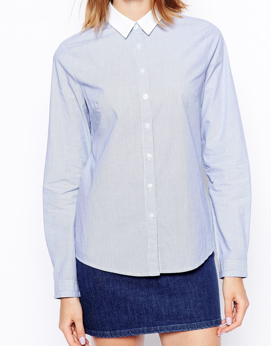 Asos stripe fitted shirt in blue and white stripe with for Blue and white striped shirt with white collar