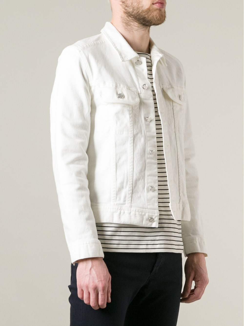 A.p.c. Denim Jacket in White for Men | Lyst