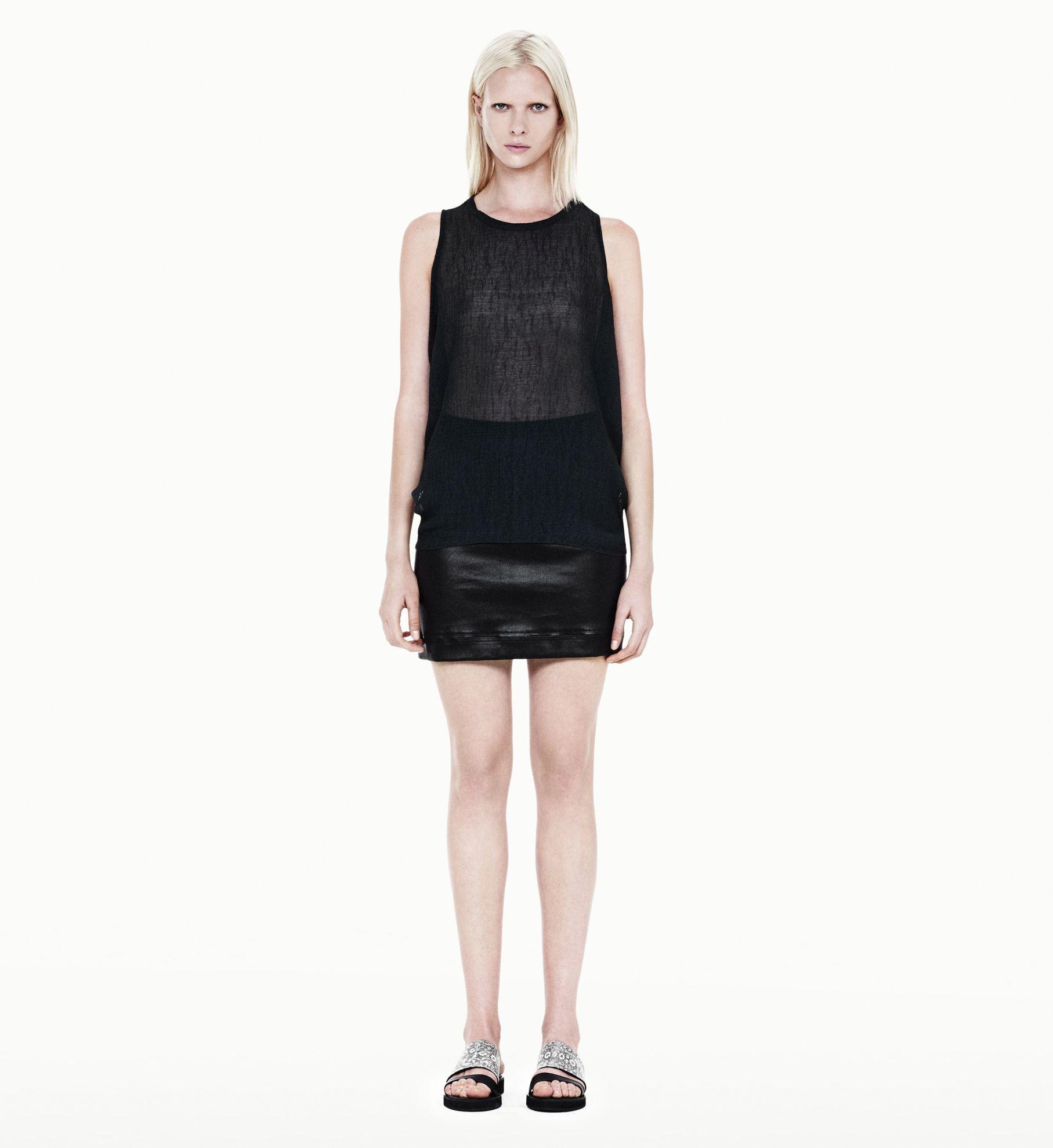 helmut lang talc leather mini skirt in black lyst