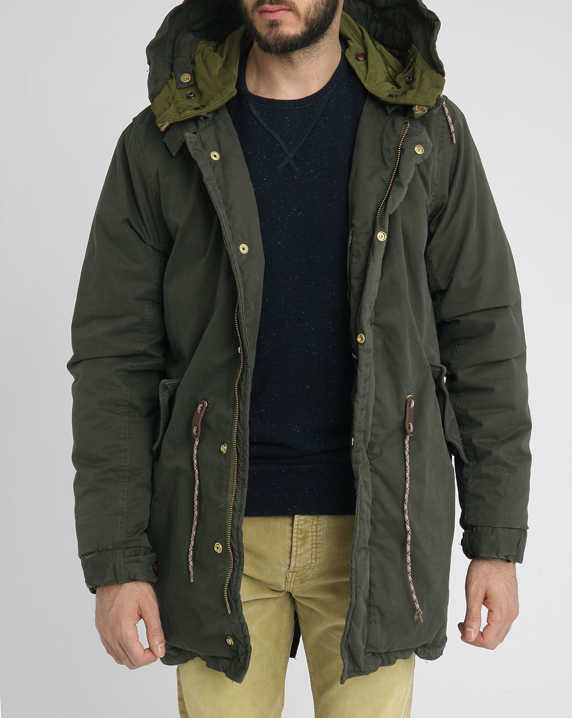 scotch soda khaki fishtail sherpa lined hood parka in. Black Bedroom Furniture Sets. Home Design Ideas