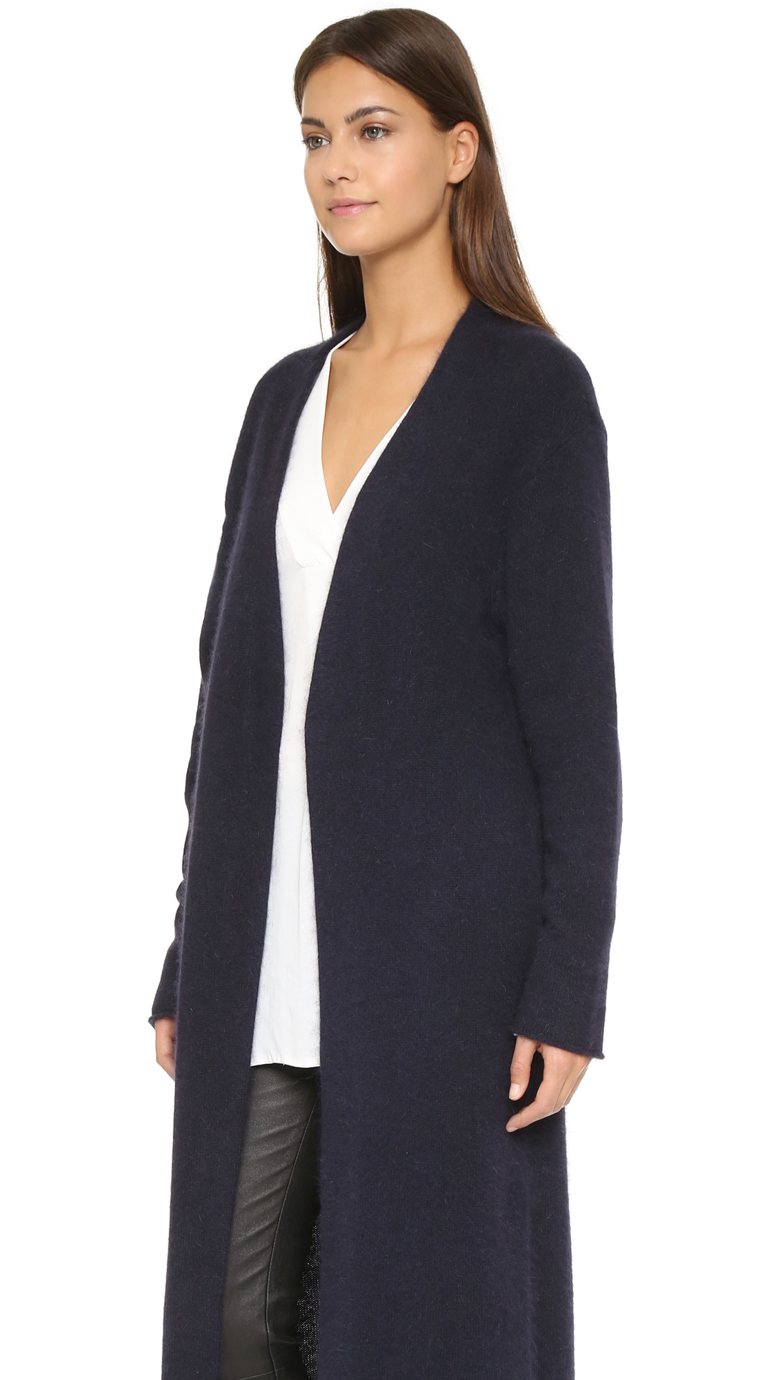 Nicholas Angora Long Cardigan - Navy in Blue | Lyst