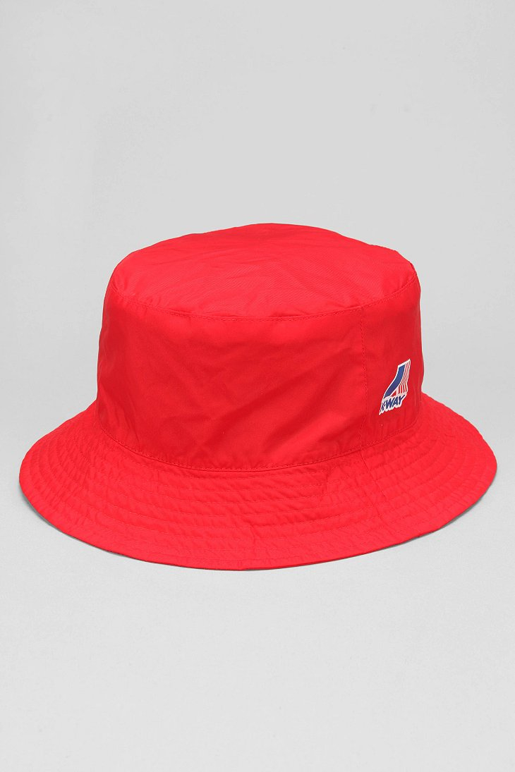 Lyst - Urban Outfitters K-Way Packable Bucket Hat in Red for Men 447429dd64e