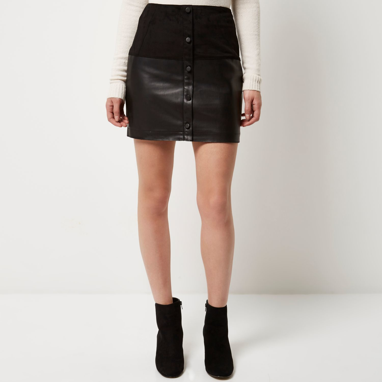 bce5b05ecf River Island Black Faux-suede Button-up Mini Skirt in Black - Lyst
