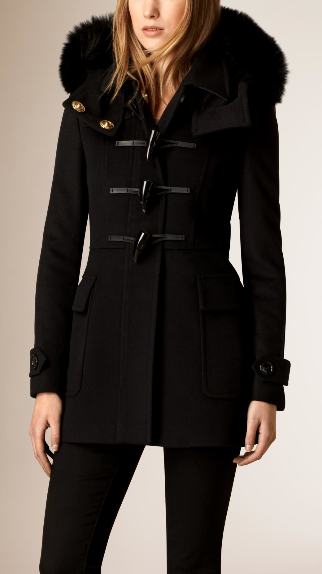 Burberry Fox Fur Trim Wool Duffle Coat in Black | Lyst
