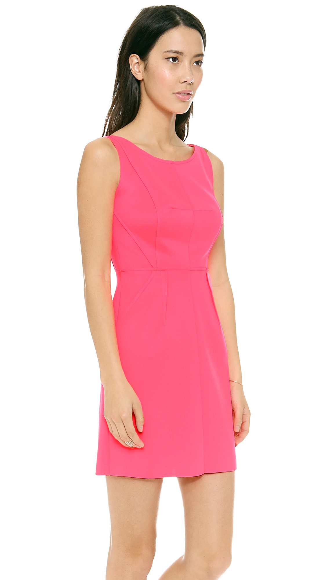 Milly Seamed Detail Dress in Pink  Lyst