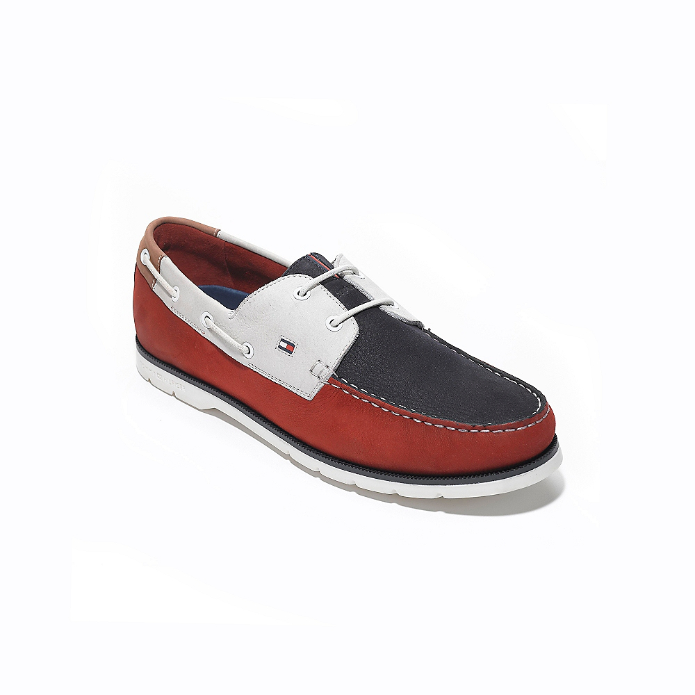 Tommy Hilfiger Colorblock Leather Boat Shoe in Blue (TANGO