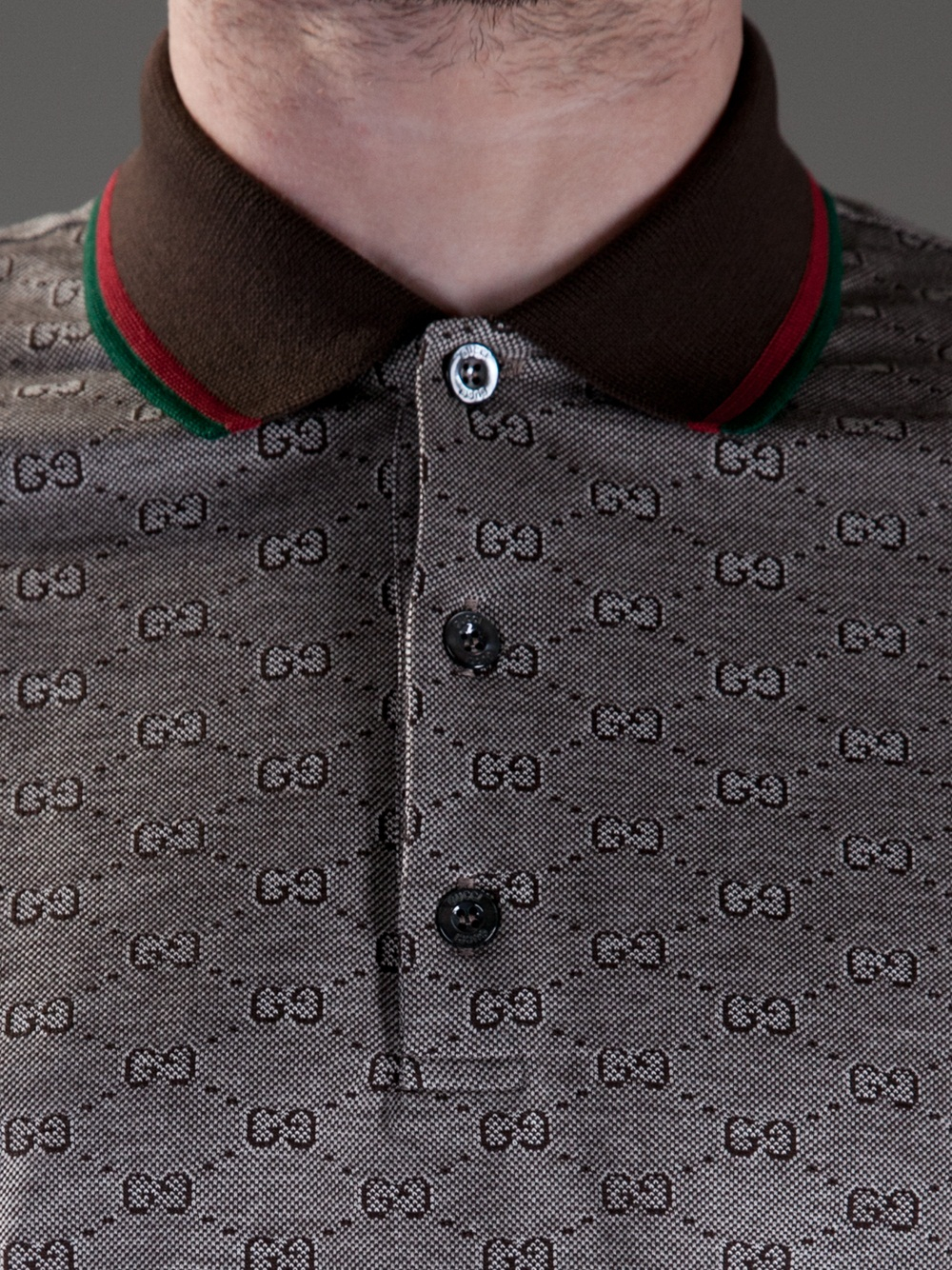 2697c864 Gucci Monogram Polo Shirt in Brown for Men - Lyst