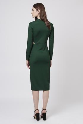 Lyst - TOPSHOP Long Sleeve Cut-out Midi Dress in Green 66f6a0b0f