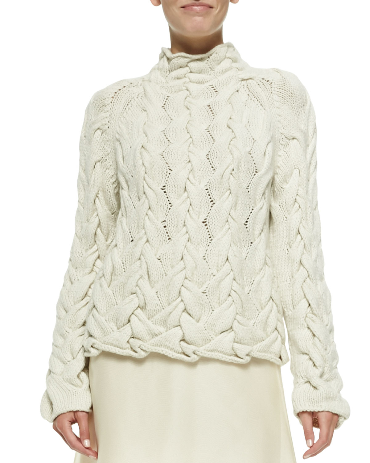 4a086db12 Lyst - The Row Chunky Cable-Knit Sweater in Natural
