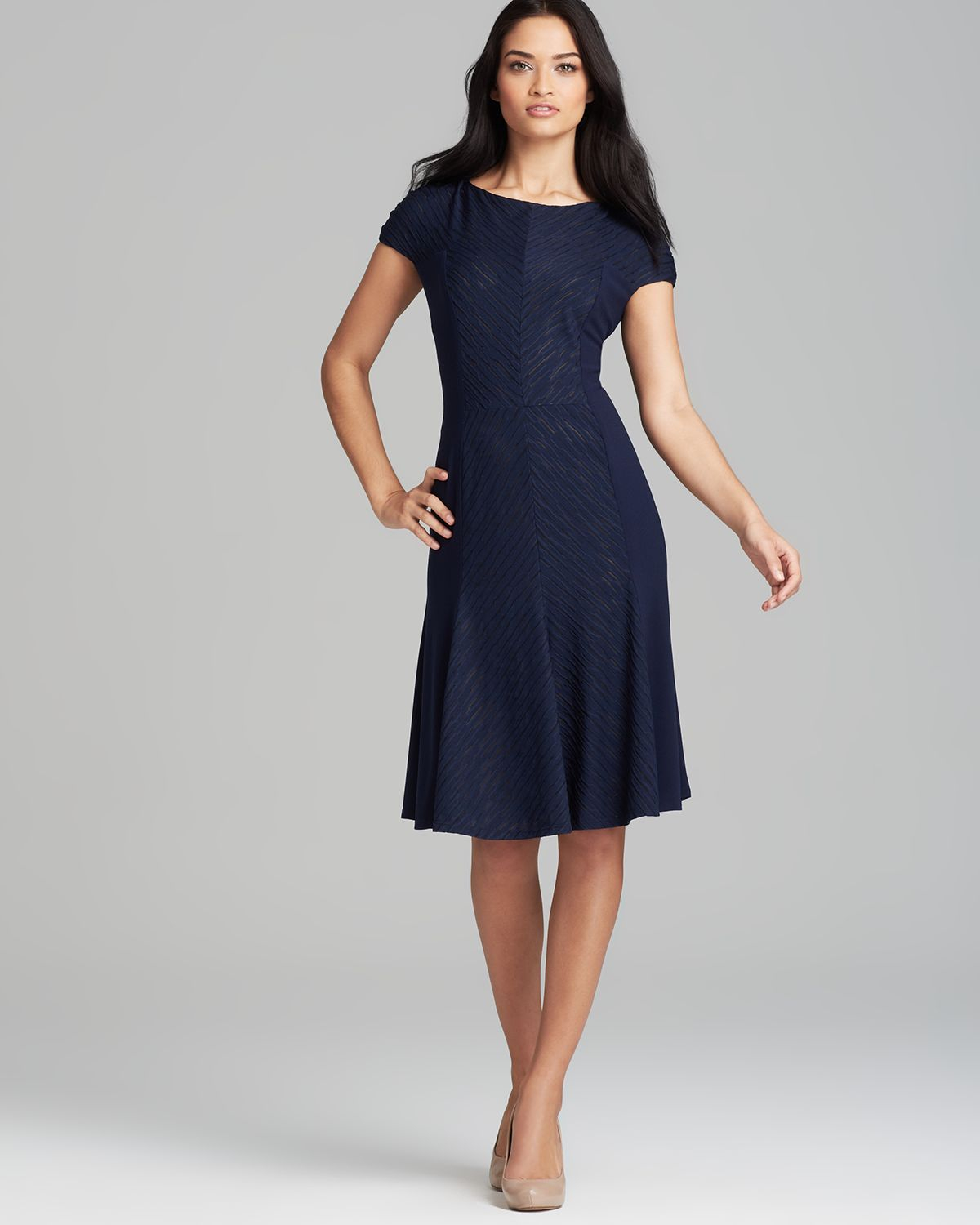 Anne Klein Dress Cap Sleeve Textured Knit Fit And Flare