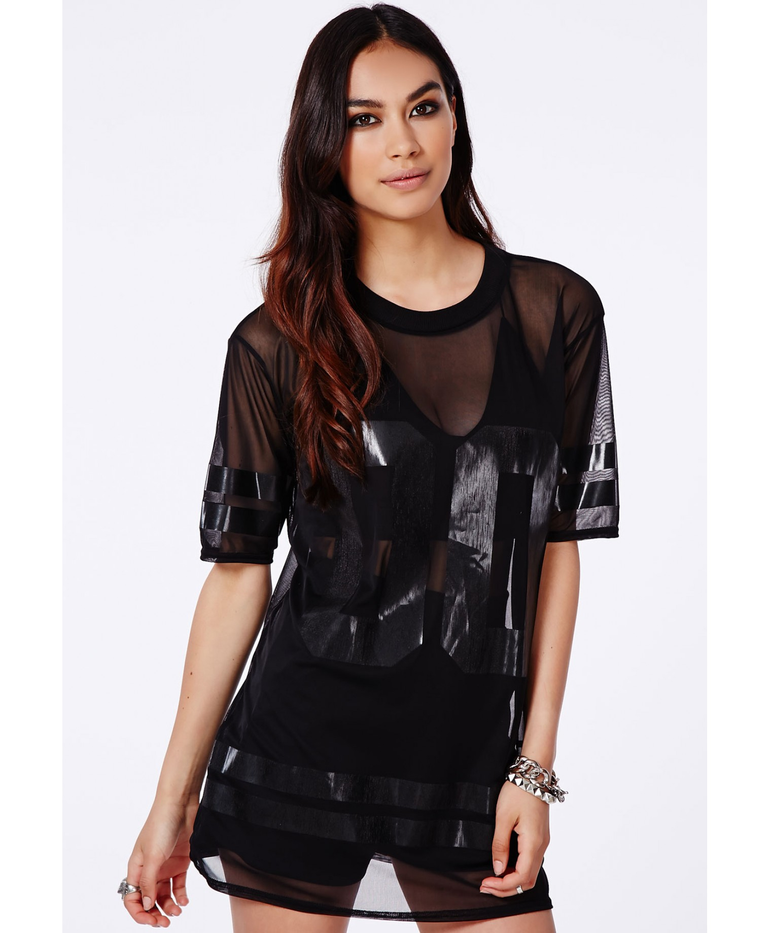 Lyst - Missguided Hugette Black American Football Mesh T-Shirt in Black 36965a868