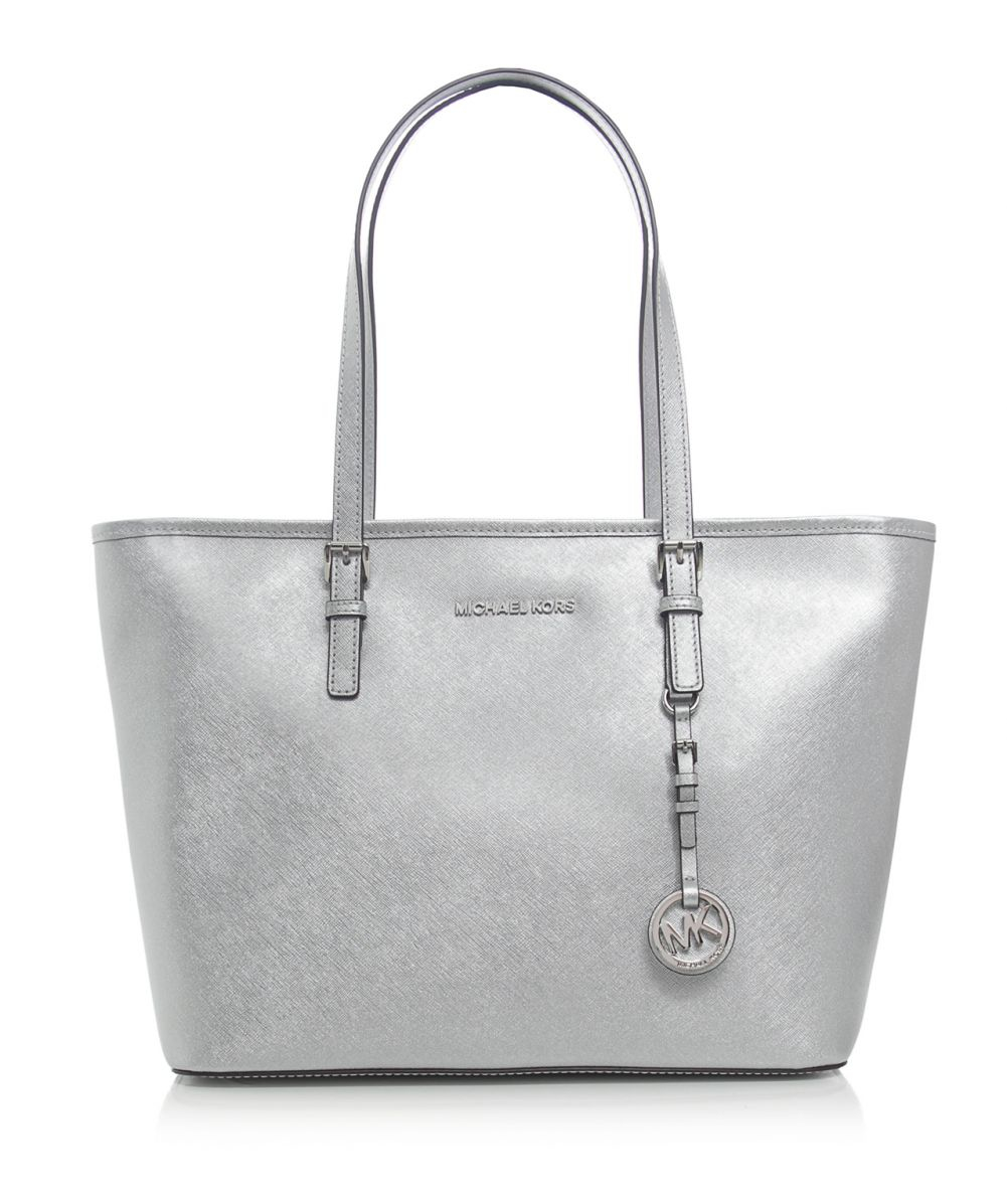 michael michael kors metallic jet set travel tote bag in silver lyst. Black Bedroom Furniture Sets. Home Design Ideas