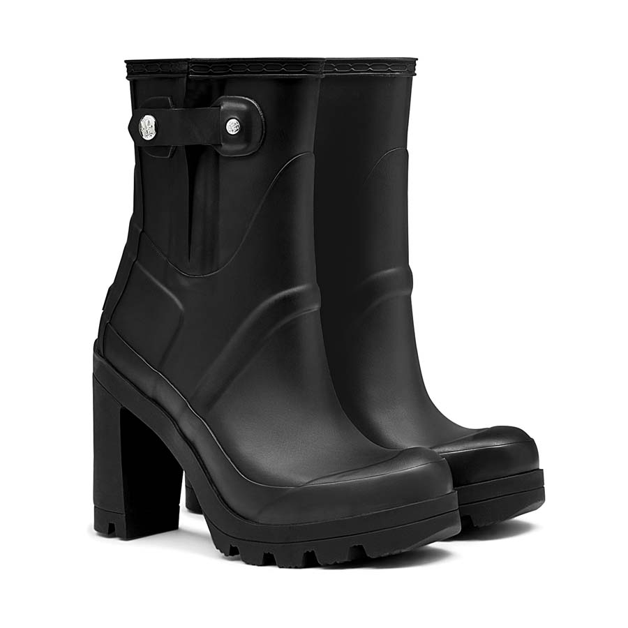 Hunter Block-Heeled Rubber Boots in Black | Lyst