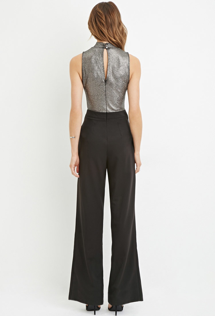 adce338503e Lyst - Forever 21 Contemporary Metallic Cutout Jumpsuit in .