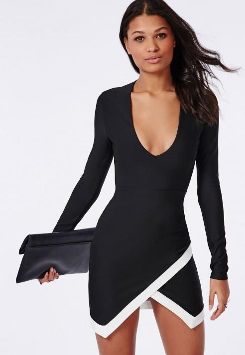 ac930e1ff8de Lyst - Missguided Plunge Long Sleeve Wrap Hem Mini Dress Black in Black