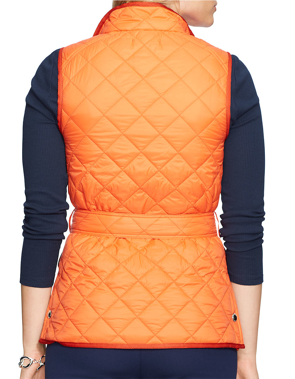 Lauren By Ralph Lauren Plus Quilted Nylon Vest In Orange