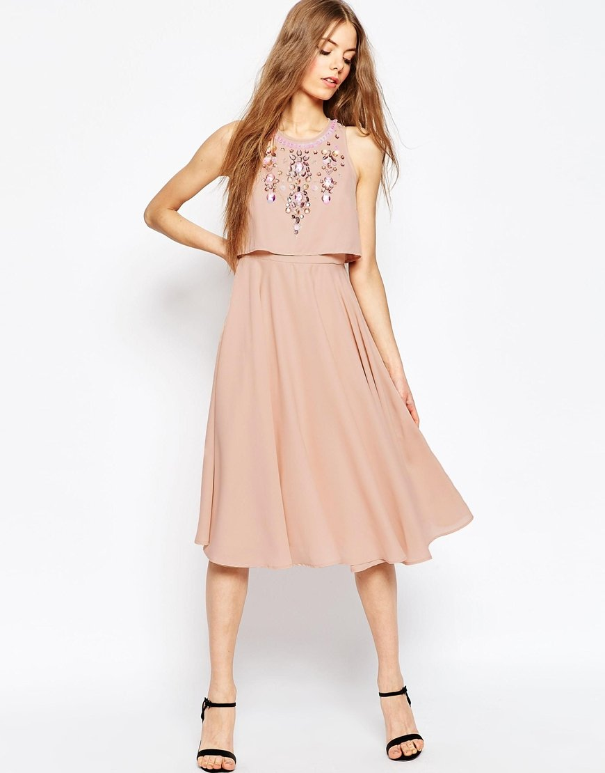 ASOS Embellished Crop Top Midi Dress in Pink - Lyst 7d91513a75a