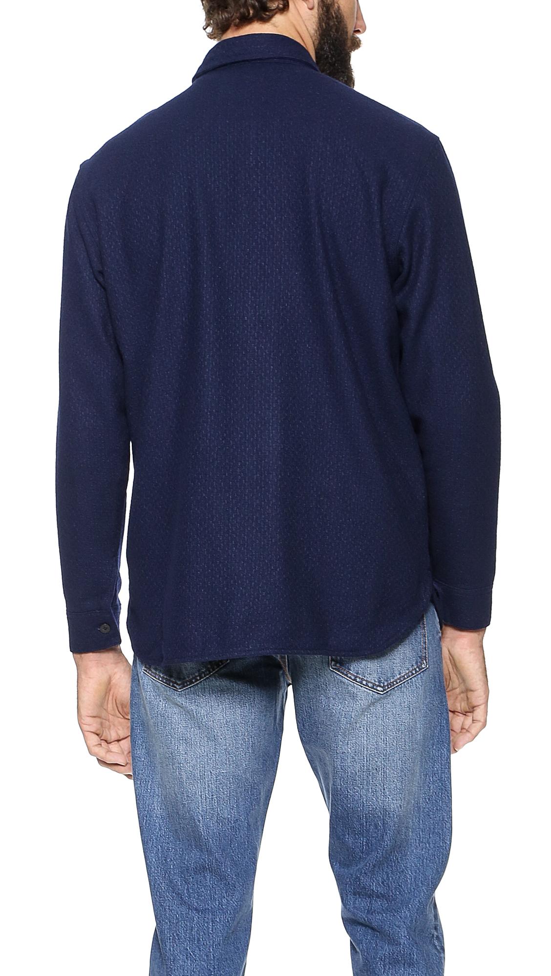 Lyst Han Kjobenhavn Army Shirt In Blue For Men