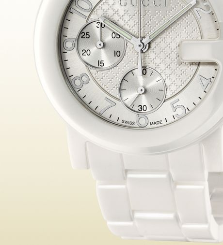Gucci G Chrono Collection Watch In White Ceramic In White
