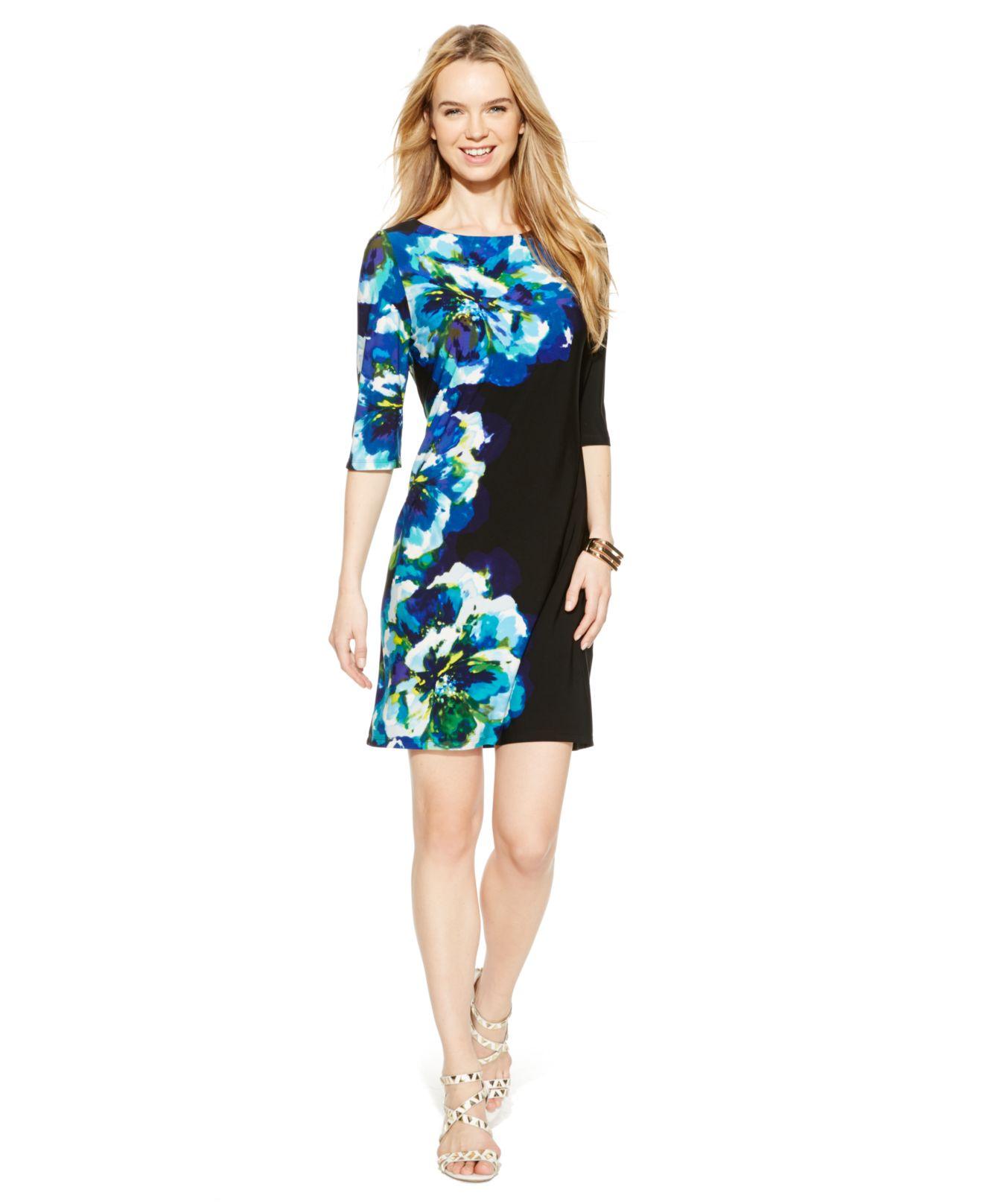 3db598e596 Lyst - Sandra Darren Floral-print Shift Dress in Blue